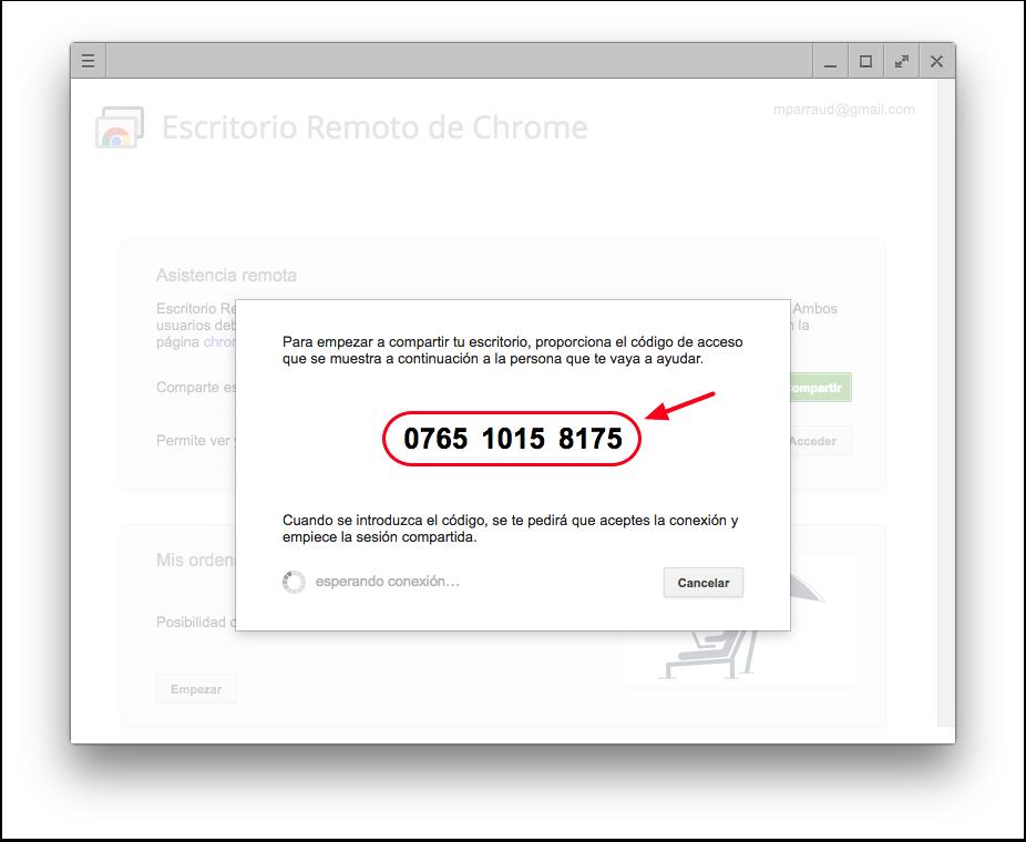 Escritorio Remoto de Chrome - Código