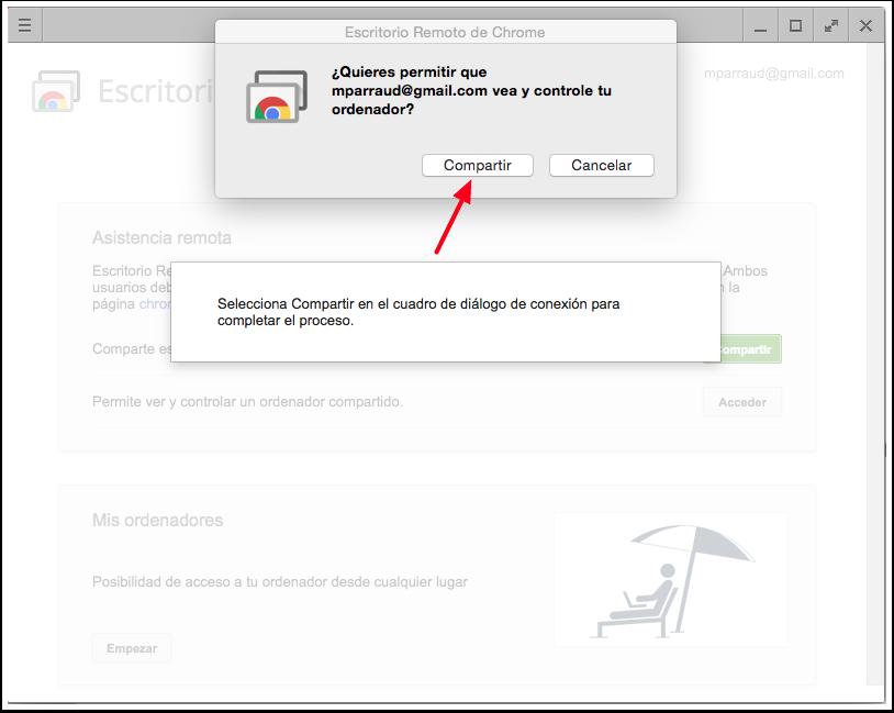 Escritorio Remoto de Chrome - Compartir Dialogo