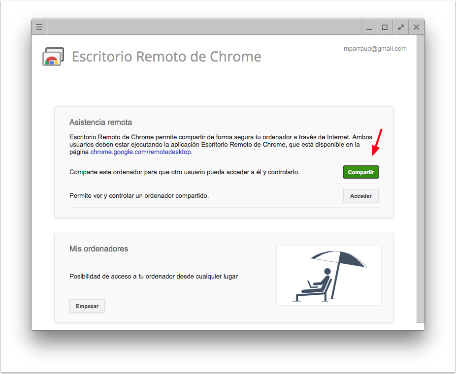 Escritorio Remoto de Chrome - Compartir
