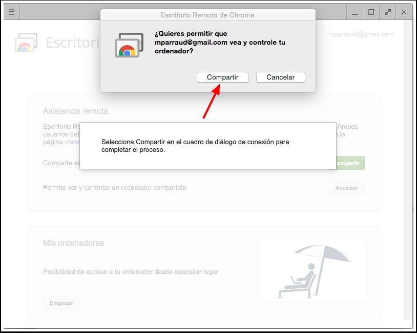 Cuadro de diálogo de Chrome Remote Desktop (Escritorio Remoto de Chrome) para completar el proceso.