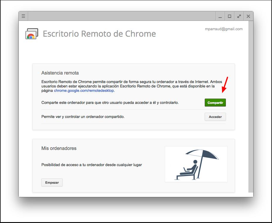 Pantalla de Chrome Remote Desktop (Escritorio Remoto de Chrome) para pedir asistencia remota