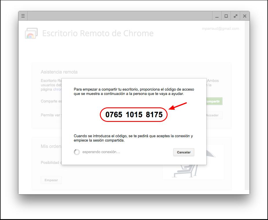 Código único que genera Chrome Remote Desktop (Escritorio Remoto de Chrome) para dar acceso a tu computadora