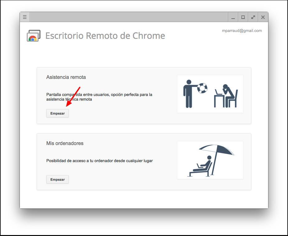 Primer pantalla de Chrome Remote Desktop (Escritorio Remoto de Chrome) que aparece al abrir la app