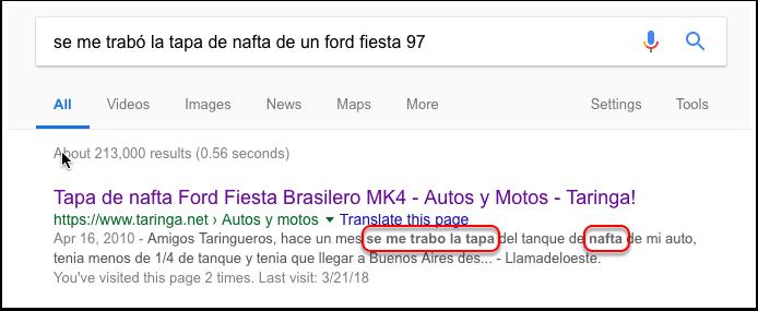 Captura de pantalla de resultado de búsqueda en Google