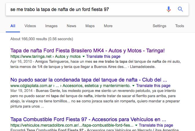 Pantalla de una búsqueda en Google